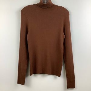 Contemporaine for Simons Ribbed Knit Turtleneck in Brown